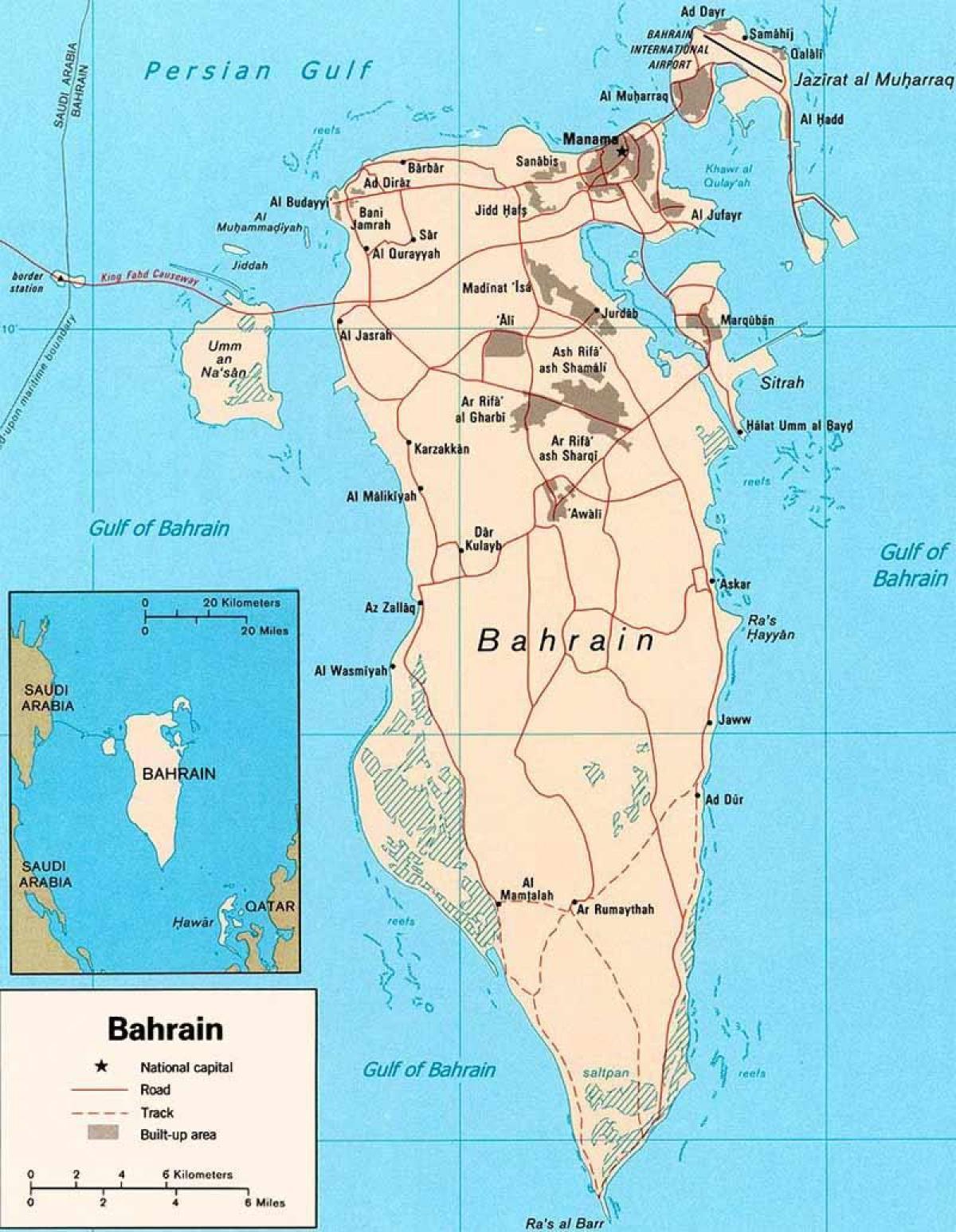 karta bahrain Bahrain road map   Bahrain vägar karta (Västra Asien   Asien) karta bahrain